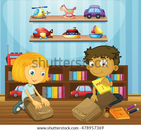 Boy and girl packing schoolbags illustration