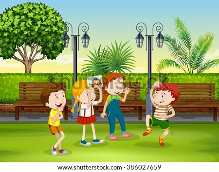 Boy and girl playing monkey in the park illustration - stock vector