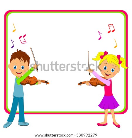 boy and girl playing the violin and frame, illustration, vector