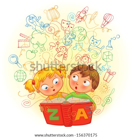 Boy and girl reading a magic book. In the book come to life images. Vector illustration. Isolated on white background - stock vector