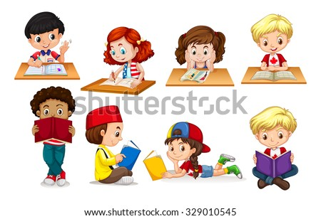 Boy and girl reading and writing illustration - stock vector