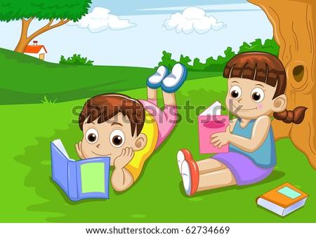 boy and girl reading book - stock vector
