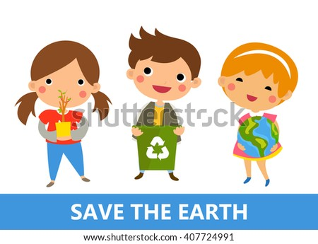Boy and girl recycling - stock vector