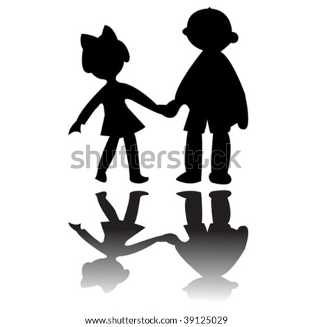 boy and girl silhouettes, vector art illustration; more drawings in my gallery