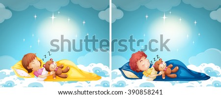 Boy and girl sleeping in bed illustration - stock vector