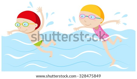 Boy and girl swimming in the pool illustration