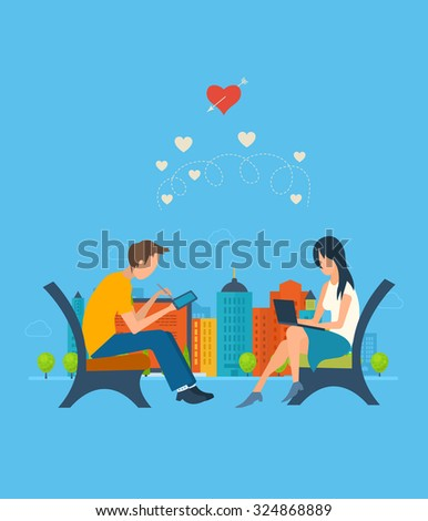Boy and girl talking on the internet. Online communication concept. Meeting love couple. Valentine Day postcard - stock vector