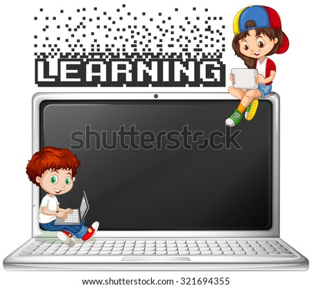 Boy and girl using computer illustration - stock vector