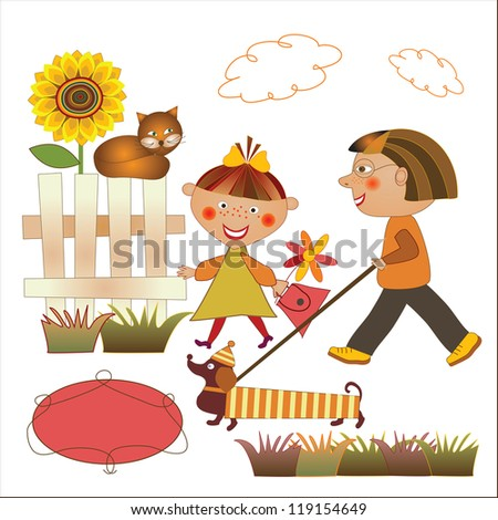 boy and girl walking the dog - stock vector
