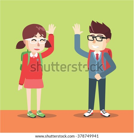 Boy and Girl waving hand - stock vector