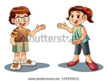boy and girl welcome - stock vector