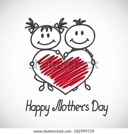 boy and girl with big heart (cartoon doodle). Happy mothers day card - stock vector