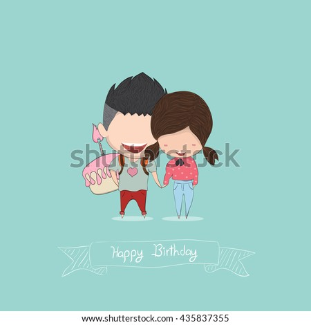 Boy and Girl with birthday cupcake, happy birthday, drawing by hand vector