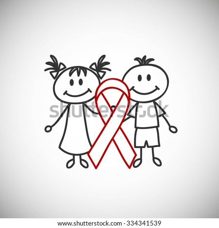 boy and girl with ribbon aids (cartoon doodle).