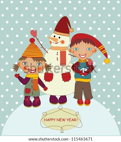 boy and girl with snowman - stock vector