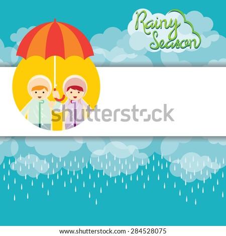 Boy and Girl with Umbrella Rainy Season Background and Frame, Monsoon, Rain,  - stock vector