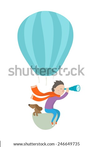 Boy and his dog flying in a hot air balloon - stock vector