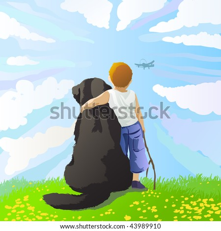 boy and his dog watching at the flying airplane - stock vector