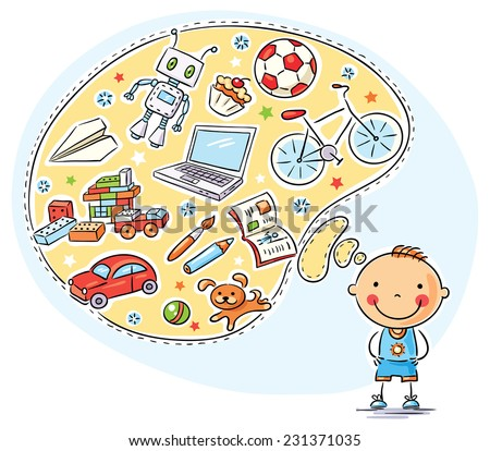 Boy and his interests in a speech bubble, toys, books, sweets, sport, computer, puppy - stock vector
