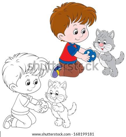 Boy and kitten - stock vector