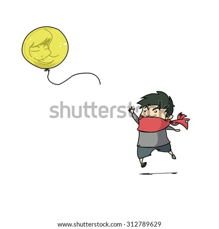 boy and yellow balloon