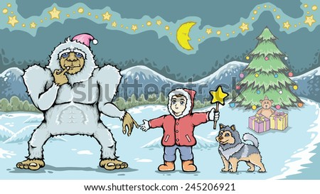 Boy and yeti monster. / Help Put A Star On The Top Of His Christmas Tree. / Hand drawn with pen tablet.
