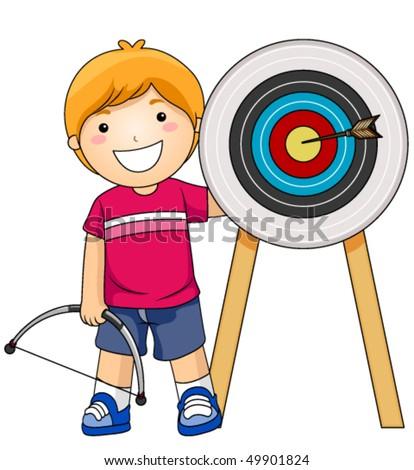 Boy Archer - Vector - stock vector