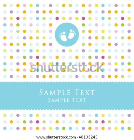 Boy arrival announcement card - stock vector