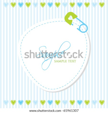 Boy arrival announcement card - stock vector