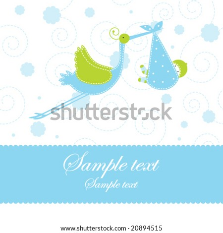 Boy arrival announcement card Cute baby shower card with copy space Simple for greeting card, baby card, birthday invitation, scrapbook project, baby shower projects Hand drawn illustration template