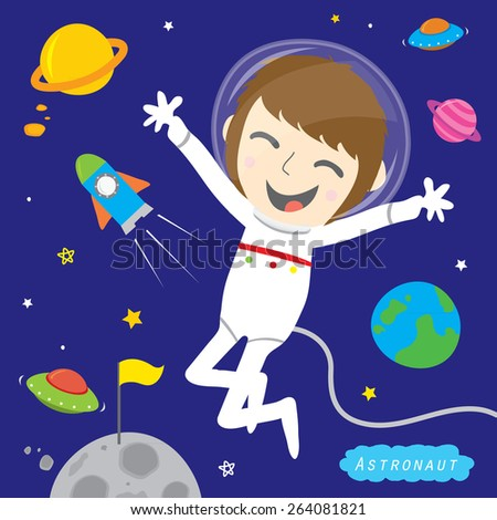 Boy Astronaut Spaceman Cute Cartoon Vector Design - stock vector