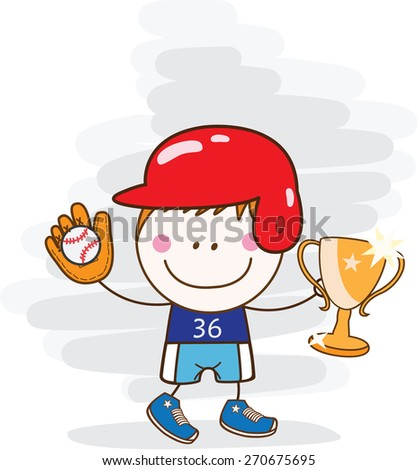 boy baseball player with cup - stock vector