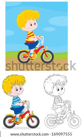 Boy bicyclist - stock vector