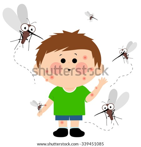 Boy bitten by mosquitoes.  - stock vector