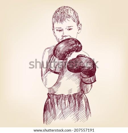 boy boxer  - hand drawn vector llustration realistic sketch - stock vector