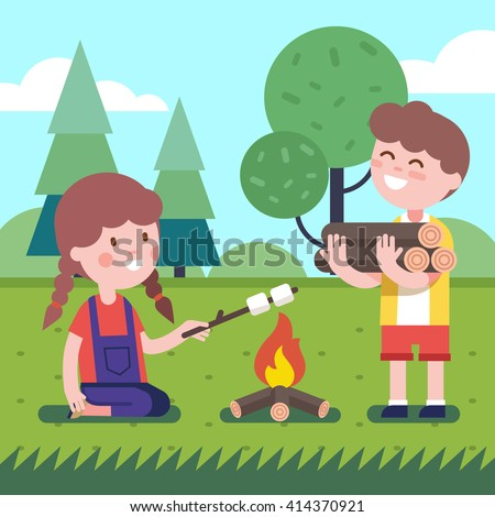 Boy brings some firewood at the bonfire. Girl frying her marshmallows on the wooden stick. Modern flat style illustration. Kids cartoon character clipart. - stock vector