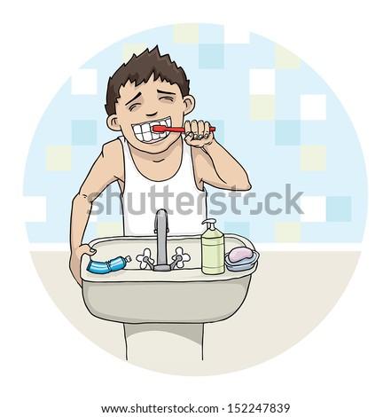 Boy brushing his teeth, vector illustration - stock vector