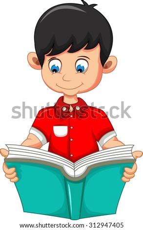 boy cartoon reading book for you design - stock vector