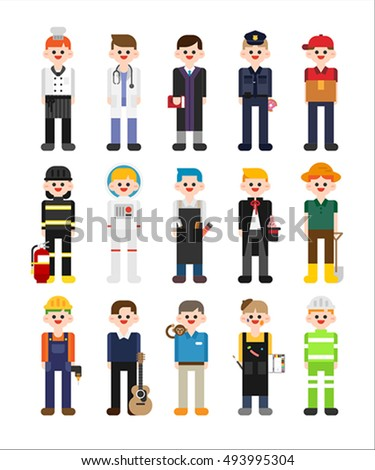 Boy character about job vector illustration stock vector for Character designer job