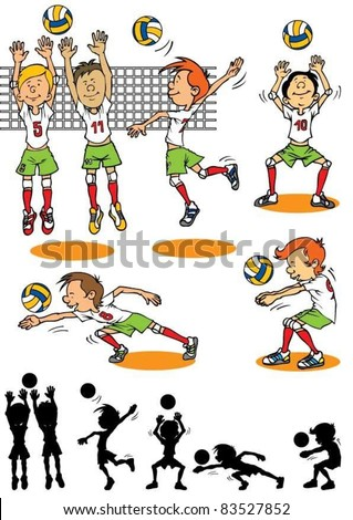 Boy character playing volleyball - stock vector