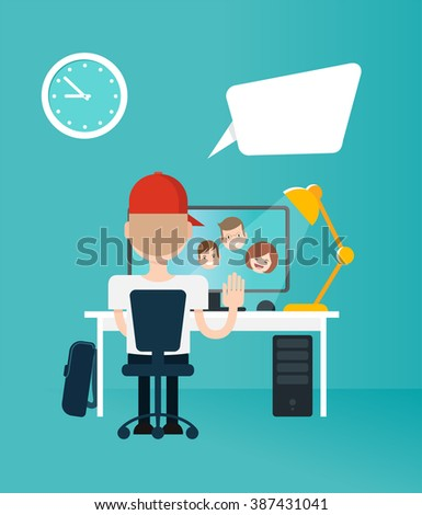 Boy chatting with his family on the internet. Vector Illustration of a boy sitting on his desk in front of his computer camera and chatting on line with his parents. - stock vector