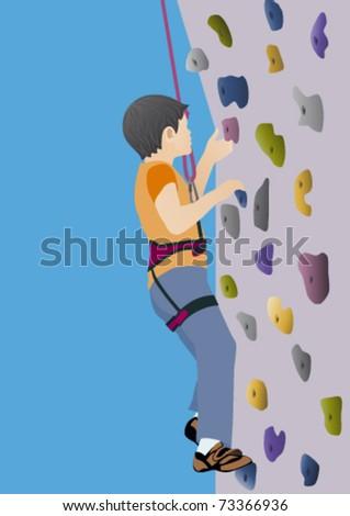 Boy climbing artificial rock - stock vector