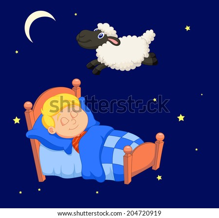 Boy counting sheep - stock vector