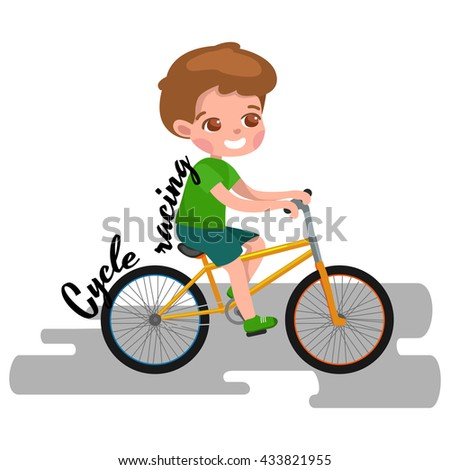 Boy cycling, racing kids sport, physical activity vector illustration - stock vector
