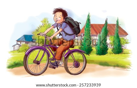 Boy cycling. Summer Activities. Children illustration for School books, advertising, magazines and more. Separate Objects. VECTOR. - stock vector