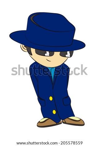 boy detective - stock vector