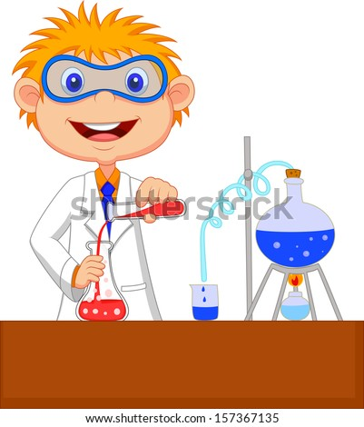 Boy doing chemical experiment - stock vector