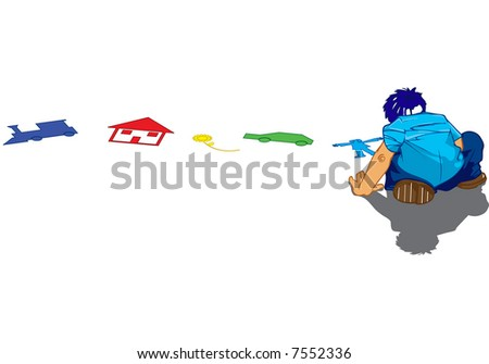 boy drawing and coloring alone on the floor with chalks - stock vector