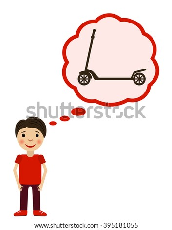 Boy dreams about scooter. Children wishes a toy. Vector illustration. - stock vector