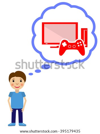 Boy dreams about video game. Vector flat  illustration. - stock vector